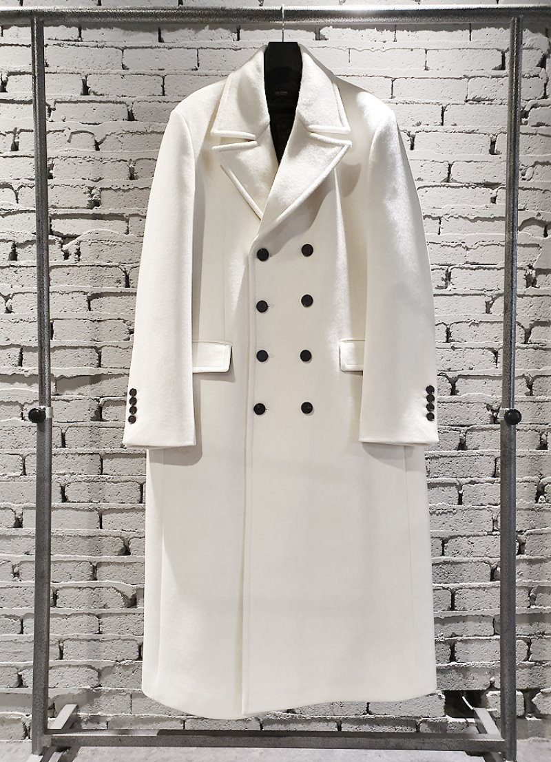 RARE CREAM-IVORY 4-BUTTON SUPER LONG COAT(최고급 터치감 울100% 원단)(WOOL 100%)(CT-280)