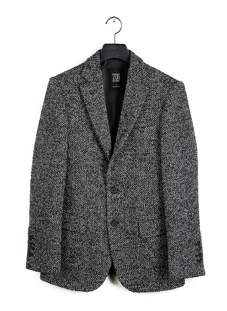 HAND-MADE™ HERRINGBONE TWEED WOOL TWO-BUTTON TAILORED JACKET(HERRINGBONE TWEED WOOL)(JK-024)