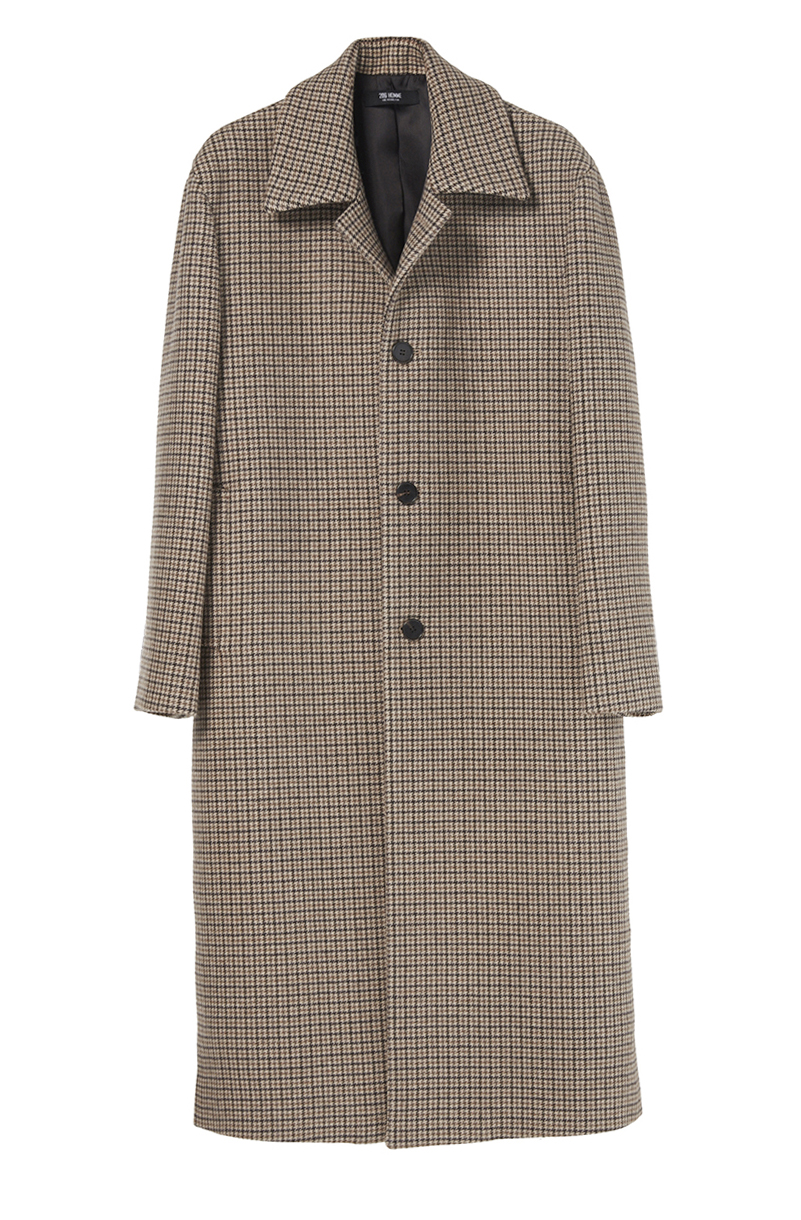"OVER-FIT™ BROWN CHECK LONG MAC-COAT(최고급 터치감 울100% 원단)(WOOL 100%)(CT-176)(남여공용)[변우석 ""매체 인터뷰"" 협찬]"