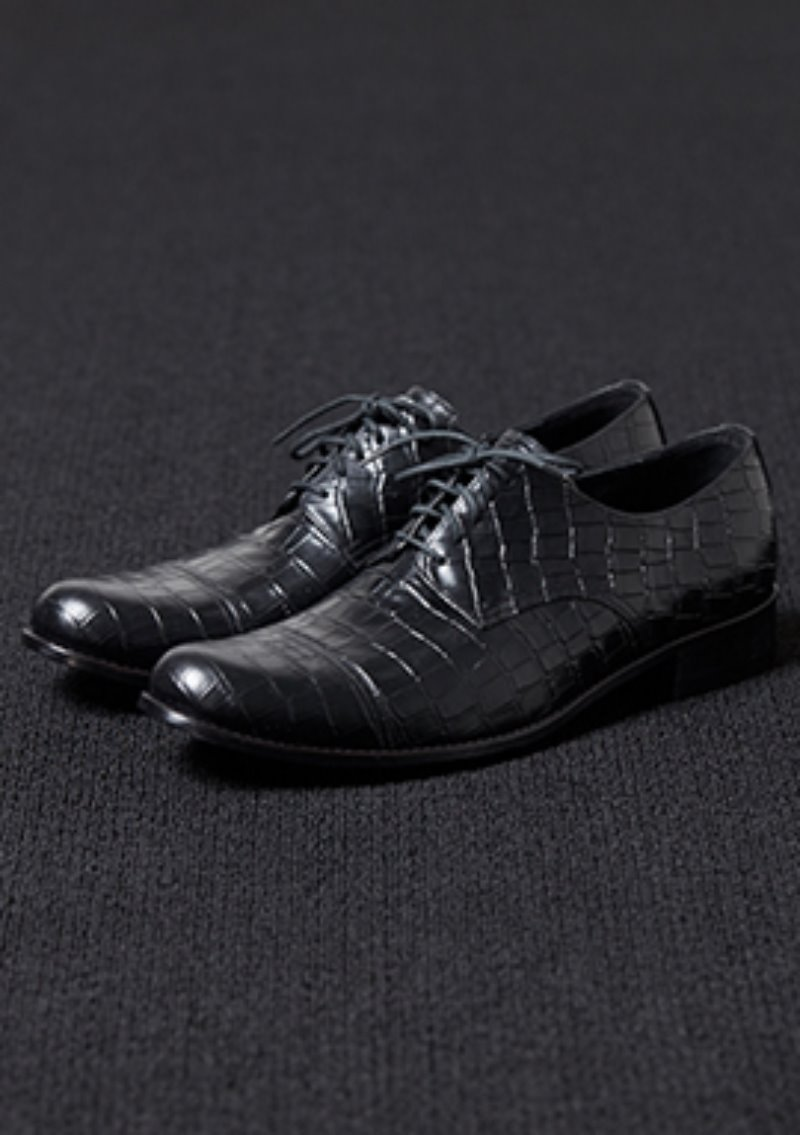 [206 HOMME]2020 S/S NEW COLLECTIONALLIGATOR PATTERN BLACK LEATHER DERBY SHOES(LEATHER 100%)(남성용 + 여성용)(SS-058)