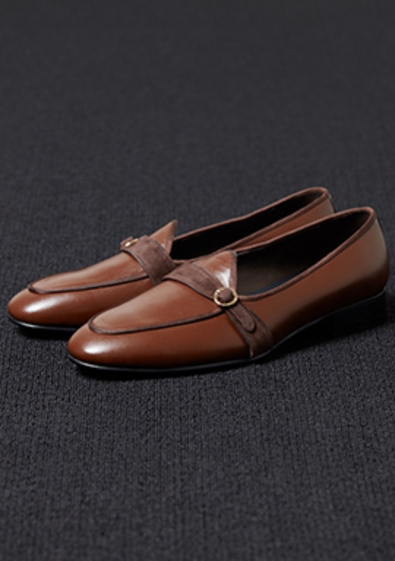 [206 HOMME]2020 S/S NEW COLLECTIONUNIQUE MONKSTRAPS BROWN LOAFERS(LEATHER 100%)(남성용 + 여성용)(SS-062)