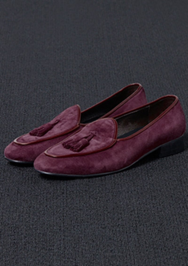 [206 HOMME]2020 S/S NEW COLLECTIONSHAWL DECORATION BURGUNDY-WINE SUEDE LOAFERS(SUEDE 100%)(남성용 + 여성용)(SS-068)