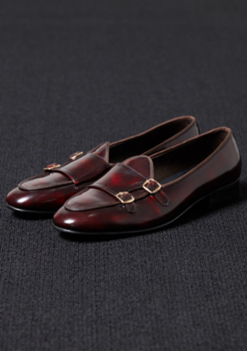 [206 HOMME]2020 S/S NEW COLLECTIONMONKSTRAPS BURNISHED-BROWN LEATHER LOAFERS(LEATHER 100%)(남성용 + 여성용)(SS-059)
