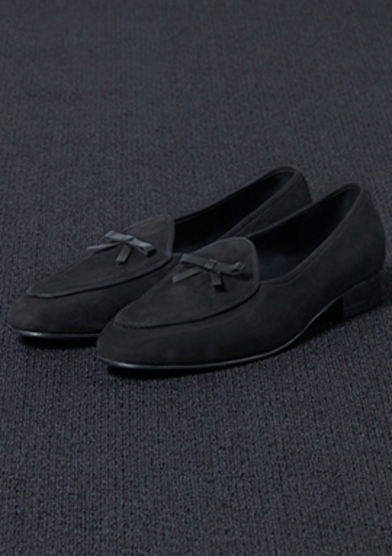 [206 HOMME]2020 S/S NEW COLLECTIONBLACK SUEDE RIBBON DECORATION LOAFERS(SUEDE 100%)(남성용 + 여성용)(SS-066)