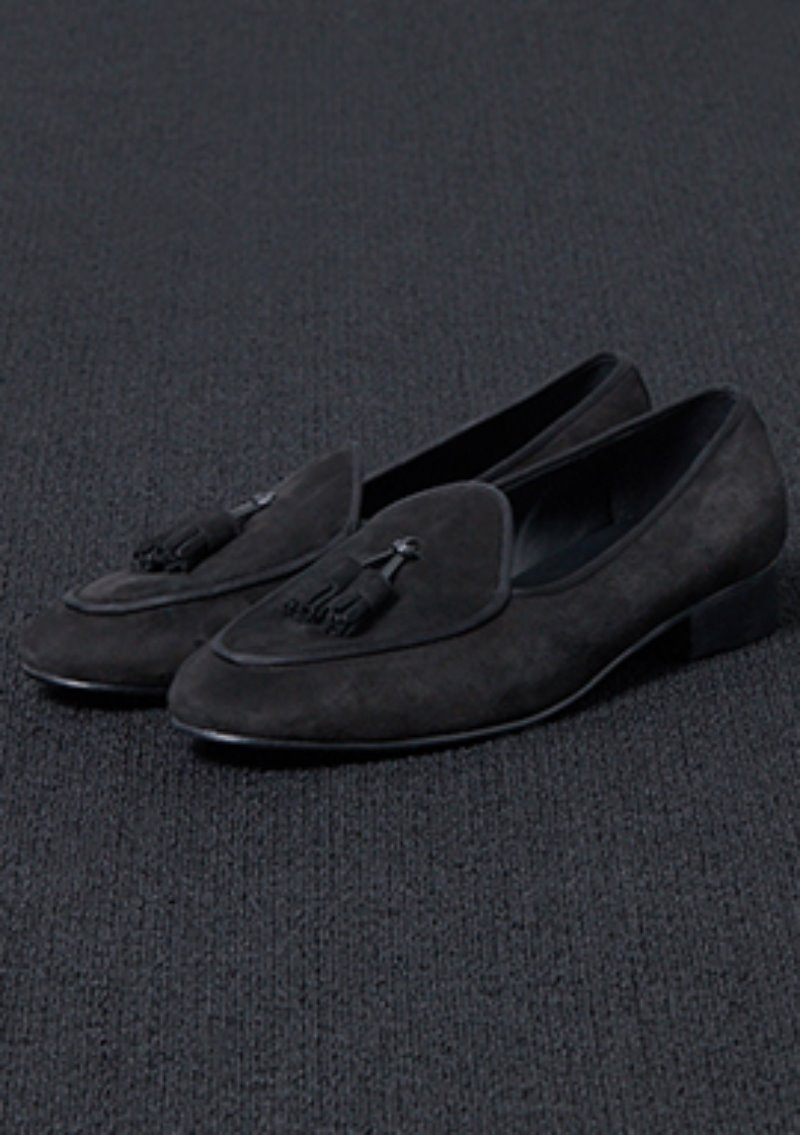 [206 HOMME]2020 S/S NEW COLLECTIONSHAWL DECORATION BLACK SUEDE LOAFERS(SUEDE 100%)(남성용 + 여성용)(SS-069)