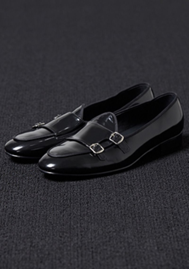 [206 HOMME]2020 S/S NEW COLLECTION2019 S/S NEW COLLECTIONMONKSTRAPS BLACK LEATHER LOAFERS(LEATHER 100%)(남성용 + 여성용)(SS-060)