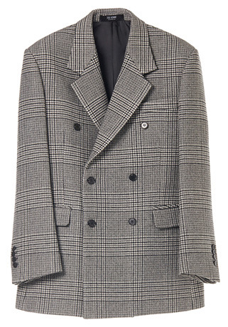 "SEMI-OVER FIT™ GLEN-CHECK GREY DOUBLE JACKET(CASHMERE 20% + WOOL 80%)(JK-78)[성훈 ""나혼자 산다"" MBC 협찬]"