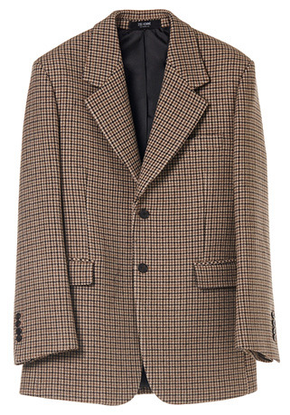 SEMI-OVER FIT™ CHECK BEIGE SINGLE JACKET(CASHMERE 20% + WOOL 80%)(JK-82)
