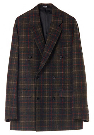 "OVERSIZE™ MULTI-CHECK KHAKI DOUBLE WOOL JACKET(JK-84)[워너원 ""윤지성"" 공항패션 협찬]"