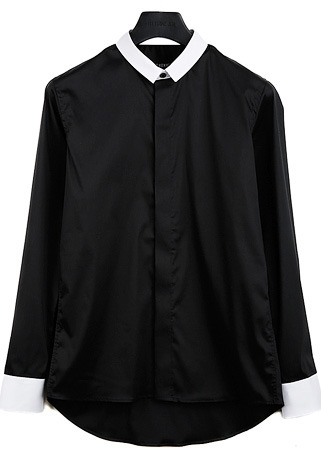 [206 HOMME]2020 S/S NEW COLLECTIONGENTLEMAN ARRANGE SLIM BLACK SHIRTS(SH-097)