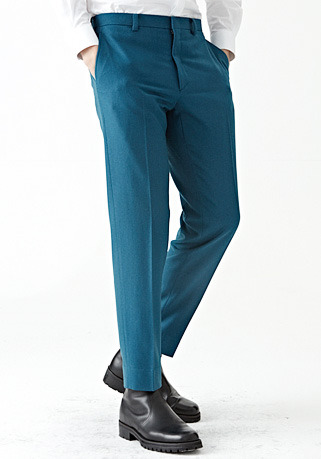 [206 HOMME by LEE YOUNG JUN]2020 S/S NEW COLLECTIONDEEP-MINT MINIMAL WOOL PANTS(최고급 봄 가을용 울100% 원단)(WOOL 100% 딥-민트)(BT-127)