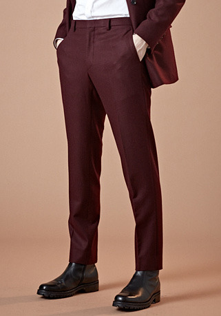 [206 HOMME by LEE YOUNG JUN]2020 S/S NEW COLLECTIONCONTEMPORARY BURGUNDY-WINE WOOL PANTS(최고급 봄 가을용 울100% 원단)(WOOL 100%)(BT-133)