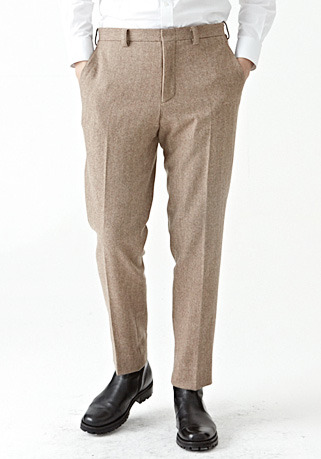 [206 HOMME by LEE YOUNG JUN]2020 S/S NEW COLLECTIONHERRINGBONE BEIGE MINIMAL WOOL PANTS(최고급 봄 가을용 울100% 원단)(WOOL 100% 베이지)(BT-132)