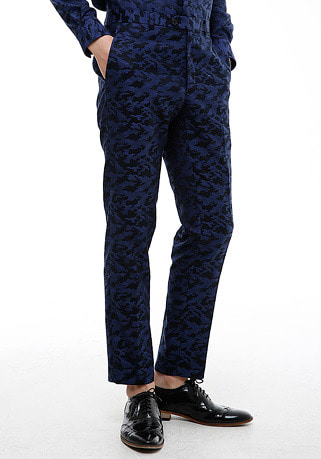 [206 HOMME by LEE YOUNG JUN]2020 S/S NEW COLLECTIONCAMOUFLAGE™ BLUE TAILORED PANTS(BT-093)