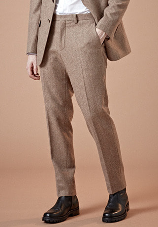 [206 HOMME by LEE YOUNG JUN]2020 S/S NEW COLLECTIONARCHIVE HERRINGBONE BEIGE WOOL PANTS(최고급 봄 가을용 울100% 원단)(WOOL 100%)(BT-141)