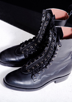 [206 HOMME]2020 S/S NEW COLLECTIONBLACK ZIPPER COMBAT BOOTS (SS-040)