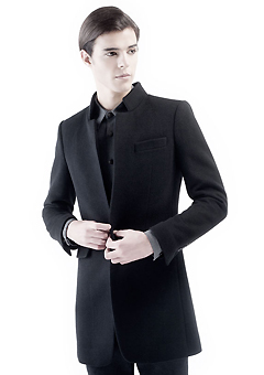 [206 HOMME]BLACK CHINA-COLAR CASHMERE WOOL COATMAN+WOMAN(CASHMERE 20% + WOOL 80%)(CT-073)