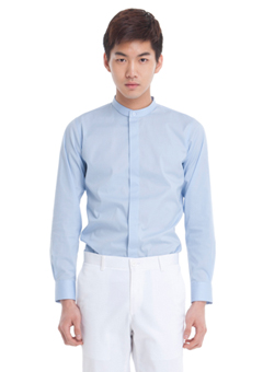 [206 HOMME by LEE YOUNG JUN]2020 S/S NEW COLLECTIONCHINA-COLLAR SKY BLUE SLIM SHIRTS(SH-052)