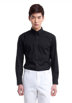 [206 HOMME by LEE YOUNG JUN]2020 S/S NEW COLLECTIONMINIMAL SLIM-FIT BLACK SHIRTS(SH-047)