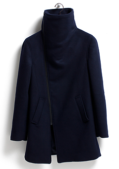 [206 HOMME]NAVY HIGH-NECK WOOL COATMAN+WOMAN(CASHMERE 20% + WOOL 80%)