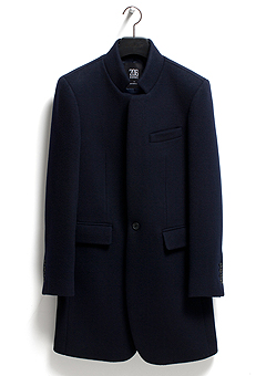 [206 HOMME]NAVY CHINA-COLLAR CASHMERE WOOL COATMAN+WOMAN(CASHMERE 20% + WOOL 80%)(CT-074)