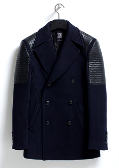 [206 HOMME]NAVY LEATHER CASHMERE BIKER COAT(WOOL 100% + LEATHER 100%)