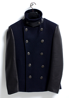 [206 HOMME]NAVY LEATHER CASHMRE PEA-COAT(WOOL 100% + LEATHER 100%)