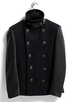 [206 HOMME]BLACK LEATHER CASHMRE PEA-COAT(WOOL 100% + LEATHER 100%)