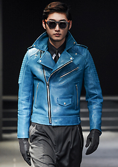 "[206 HOMME by LEE YOUNG JUN]SEOUL COLLECTION""HYBRID""PREMIUM RUNWAY BIKER BLUE-GREENMAN + WOMAN (LT-010)"