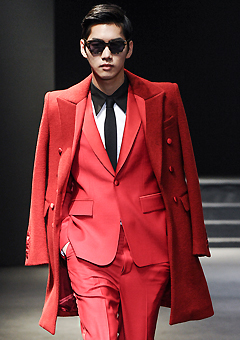 "[206 HOMME]SEOUL COLLECTION""HYBRID""RED TUXIDO SILK-WOOL COAT"