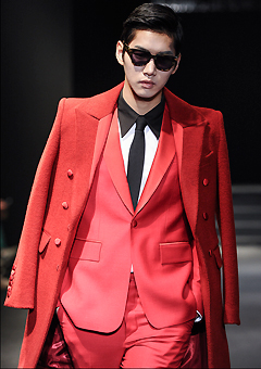 "[206 HOMME]SEOUL COLLECTION""HYBRID""RED SHAWL-COLLAR TUXIDO JACKET"