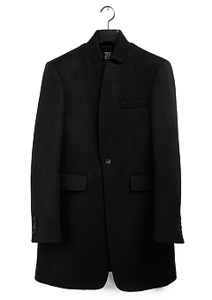 [206 HOMME]CHINA-COLLAR BLACK CASHMERE WOOL COATMAN+WOMAN(CASHMERE 20% + WOOL 80%)(CT-075)