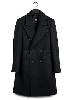 [206 HOMME]DARK-GRAY CASHMERE WOOL DOUBLE SLIM LONG COATMAN+WOMAN(CASHMERE 20% + WOOL 80%)