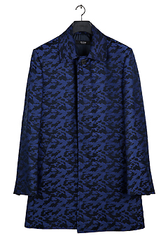 [206 HOMME]2019-20 F/W NEW COLLECTIONHAND-MADE™ CAMOUFLAGE BLUE TAILORED HIDDEN COAT(CT-024)