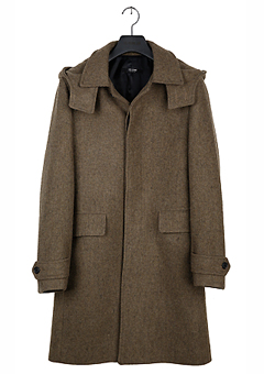 [206 HOMME]2014-15 F/W NEW COLLECTIONHOODED-TRANS SINGLE BOCASI-KHAKI COAT(CASHMERE 20% + WOOL 80%)MAN + WOMAN