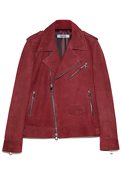 [206 HOMME by LEE YOUNG JUN]BURGUNDY-SUEDE ITALY HIDDEN-BUTTON BIKER(LT-113)(남성용 + 여성용)
