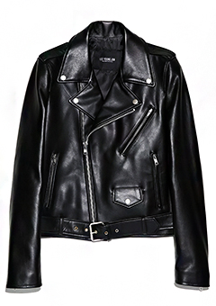 [206 WOMAN]WOMAN MINIMAL BELTED SILVER RIDER JACKET(LT-053)
