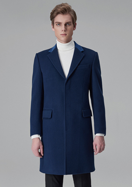 [206 HOMME]2015-16 F/W NEW COLLECTIONHAND-MADE™ BLUE VELVET HOSI-STICH SLIM-FIT COAT(CASHMERE 20% + WOOL 80% + VELVET 100%)MAN + WOMAN(CT-141)