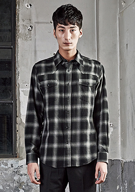 [206 HOMME][베스트상품 재생산]COLLECTIONGRAY & BLACK GRADATION WESTERN SHIRTS(SH-110)