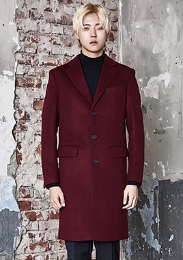 [206 HOMME]2016-17 F/W NEW COLLECTIONHAND-MADE™ HOSI-STICH BURGUNDY-WINE 3-BUTTON COAT최고급® 호시스티치 (CASHMERE 30% WOOL 70%)(CT-166)
