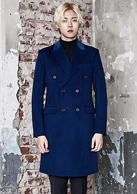 [206 HOMME]2016-17 F/W NEW COLLECTIONHAND-MADE™ VELVET & CASHMERE WOOL BLUE DOUBLE COAT(CASHMERE WOOL 100% + VELVET 100%)(CT-157)