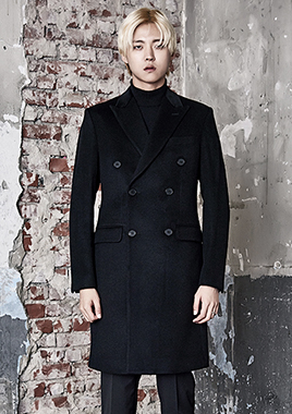 [206 HOMME]2016-17 F/W NEW COLLECTIONHAND-MADE™ VELVET & CASHMERE WOOL BLACK DOUBLE COAT(CASHMERE WOOL 100% + VELVET 100%)(CT-155)