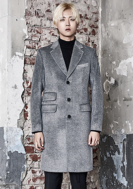 [206 HOMME]2016-17 F/W NEW COLLECTIONHAND-MADE™ HOSI-STICH GRAY 2-POCKET 3-BUTTON COAT(CASHMERE WOOL 100%)(CT-154)