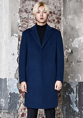 [206 HOMME]2016-17 F/W NEW COLLECTIONHAND-MADE™ SEMI OVER-FIT BLUE HIDDEN COAT(CASHMERE 20% + WOOL 80%)(CT-169)