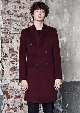 [206 HOMME]2016-17 F/W NEW COLLECTIONHAND-MADE™ VELVET & CASHMERE WOOL BURGUNDY-WINE DOUBLE COAT(CASHMERE 30% WOOL 70% + VELVET 100%)(CT-156)