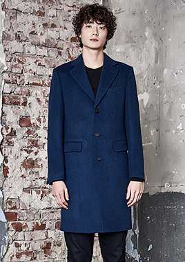 [206 HOMME]2016-17 F/W NEW COLLECTIONHAND-MADE™ HOSI-STICH BLUE 3-BUTTON COAT(WOOL 100%)(CT-165)