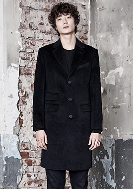 [206 HOMME]2016-17 F/W NEW COLLECTIONHAND-MADE™ HOSI-STICH BLACK 2-POCKET 3-BUTTON COAT(CASHMERE WOOL 100%)(CT-153)