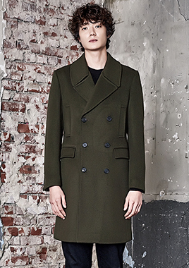 [206 HOMME]2016-17 F/W NEW COLLECTIONHAND-MADE™ MINIMAL KHAKI DOUBLE COAT(WOOL 100%)(CT-162)