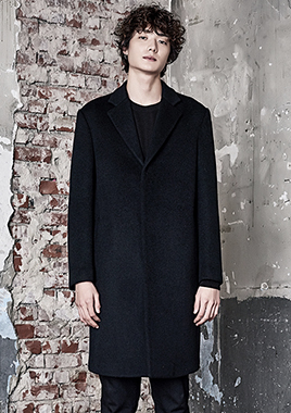 [206 HOMME]2016-17 F/W NEW COLLECTIONHAND-MADE™ SEMI OVER-FIT BLACK HIDDEN COAT(CASHMERE 20% + WOOL 80%)(CT-168)