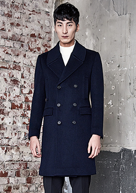 [206 HOMME]2016-17 F/W NEW COLLECTIONHAND-MADE™ MINIMAL NAVY DOUBLE COAT(CASHMERE 20% + WOOL 80%)(CT-161)